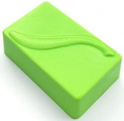 Rectangle w/Leaf Soap Mold: 4 Cavity